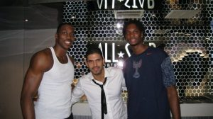 Dwight Howard DJ Keza and Chris Bosh in Beijing during the Olympic Games